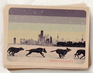 christmas in city postcard