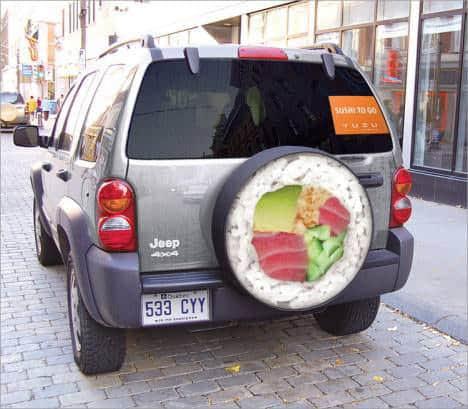 Guerrilla advertising on car