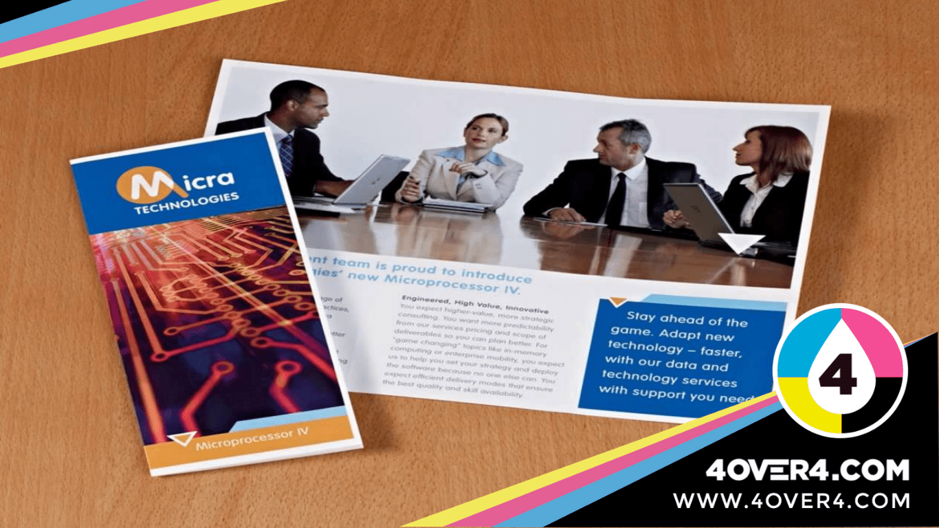 A brochure on the table with image and text.