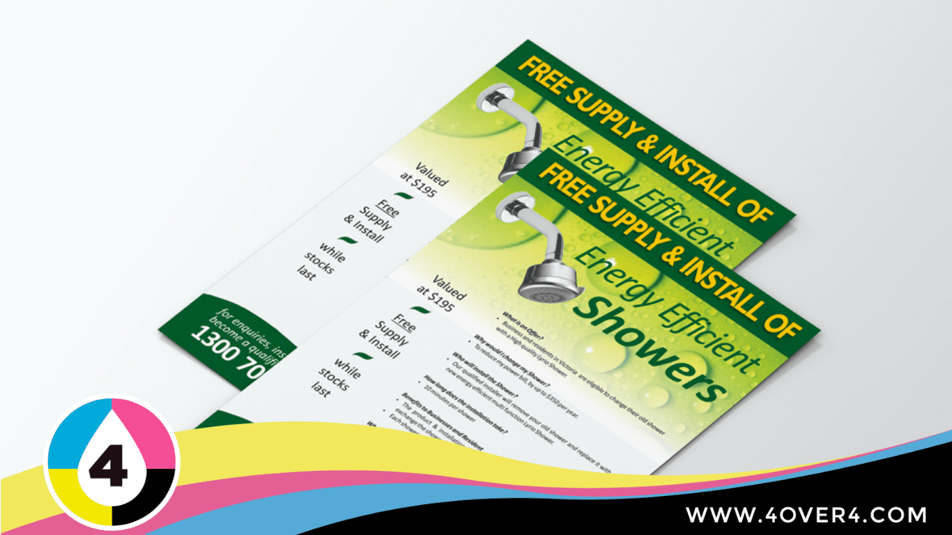 Two shades of green used to design the fixture and fitting flyer