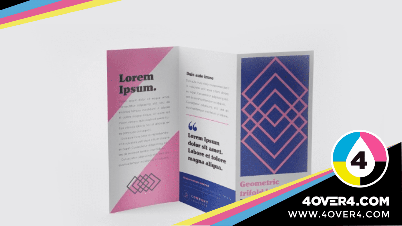 Abstract design in pink and mauve gate-fold brochure.