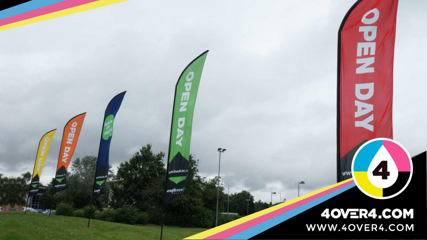 Sports event promotion with colorful custom flags