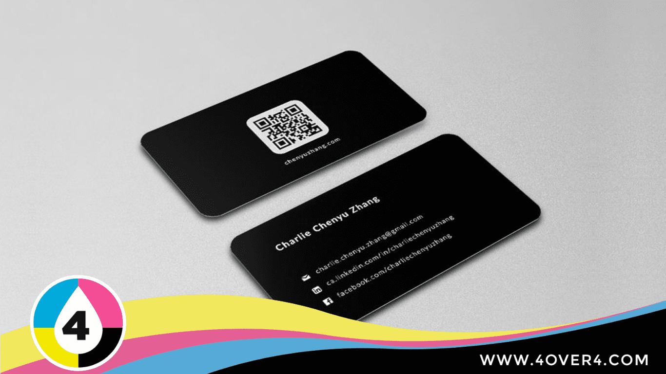 Black business card back with QR code