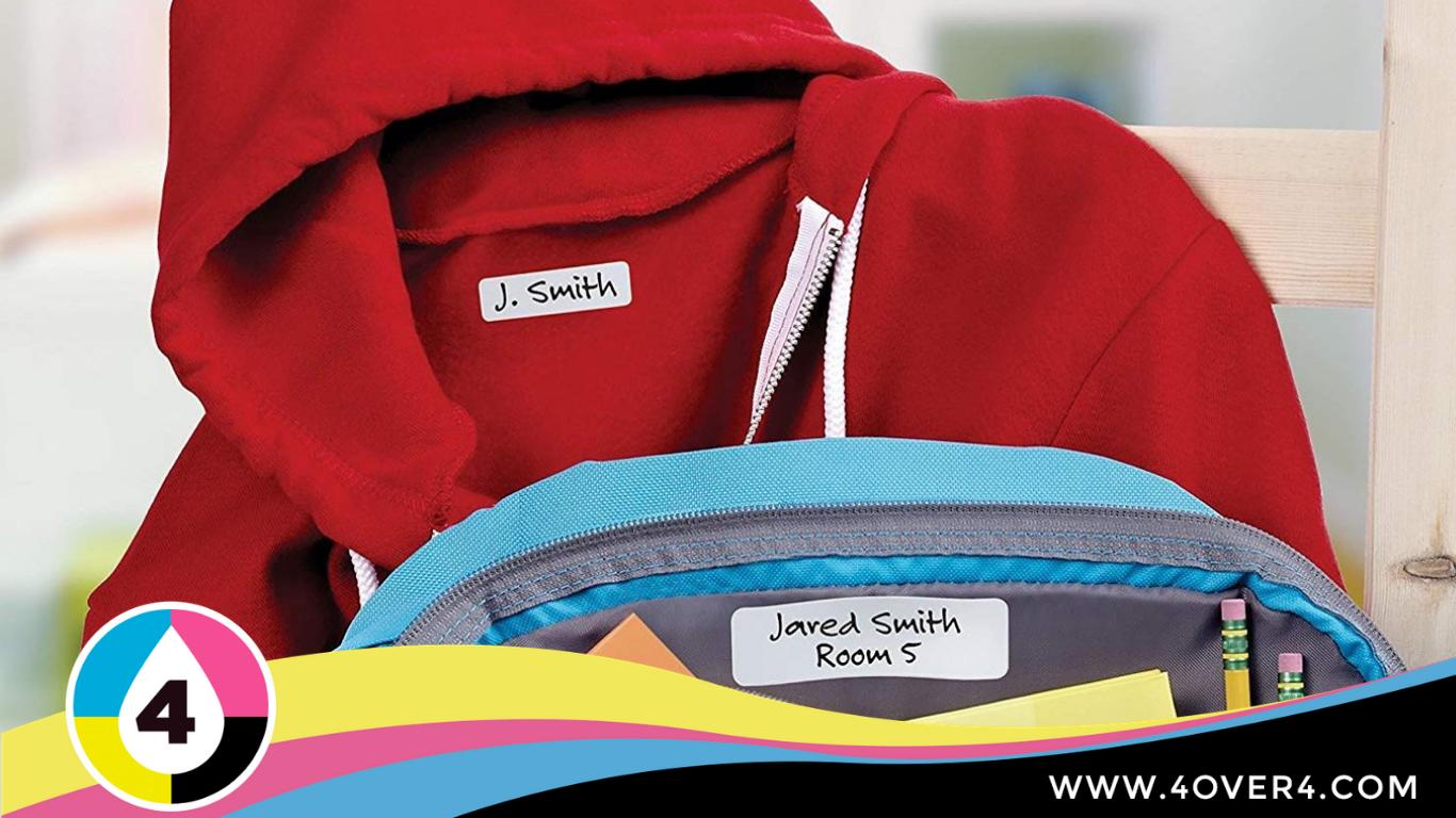 Water-resistant labels on kids bags and jackets