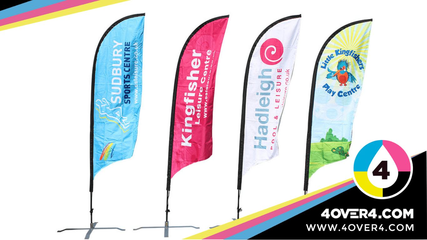 Several color feather flags customized for promotions