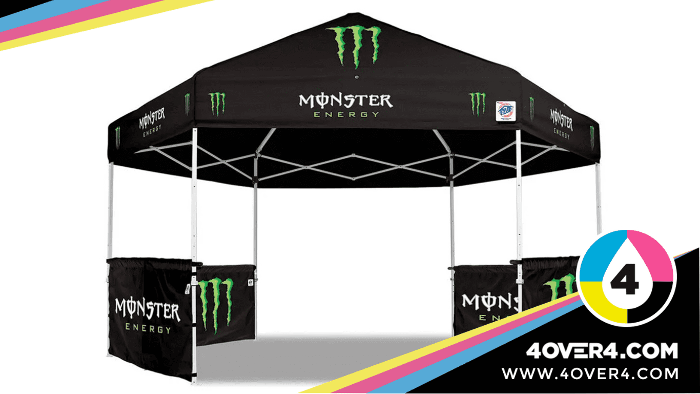 Black color event tent with logo and design printed on it