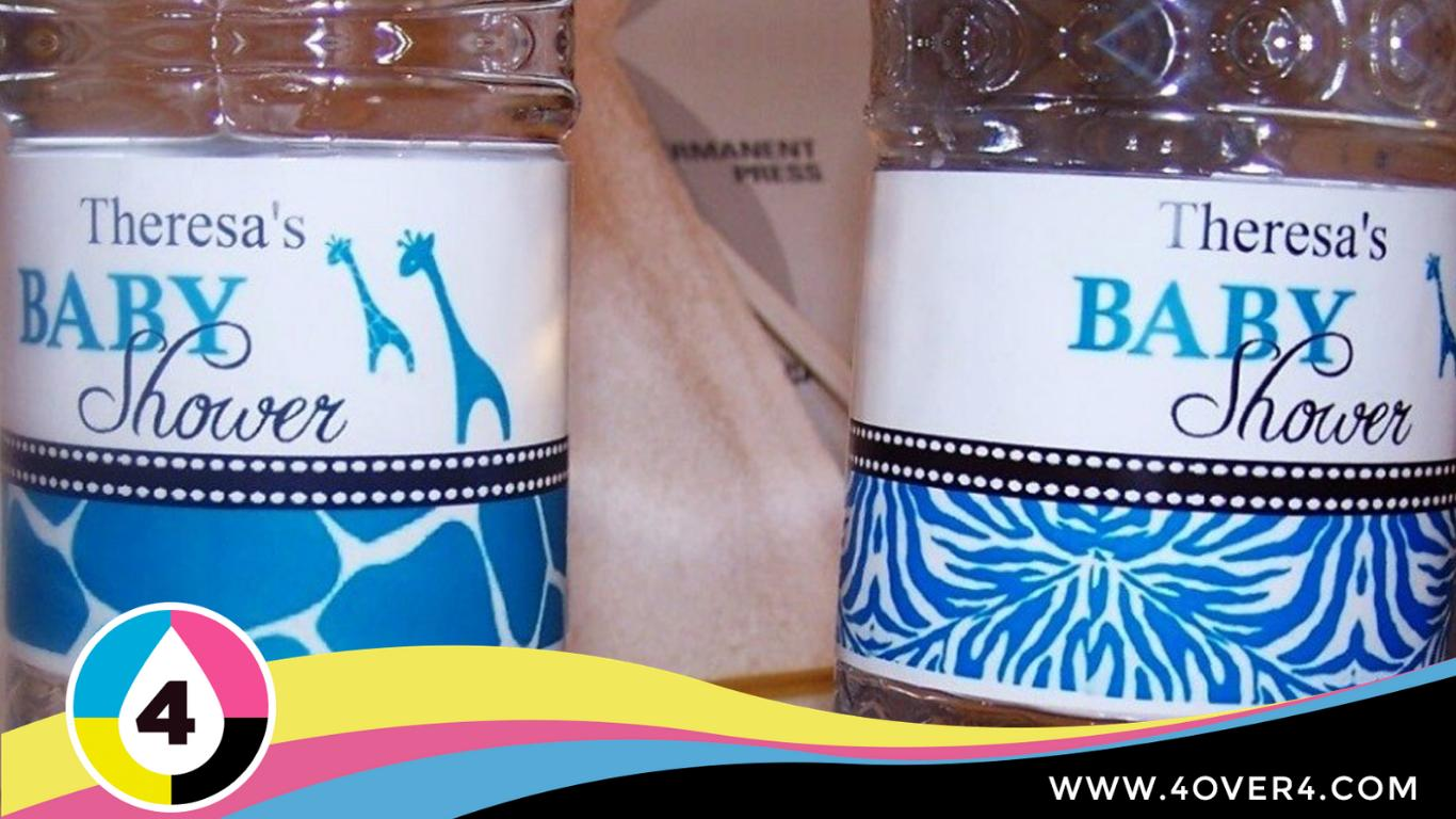 Custom waterproof labels on shower gel jars