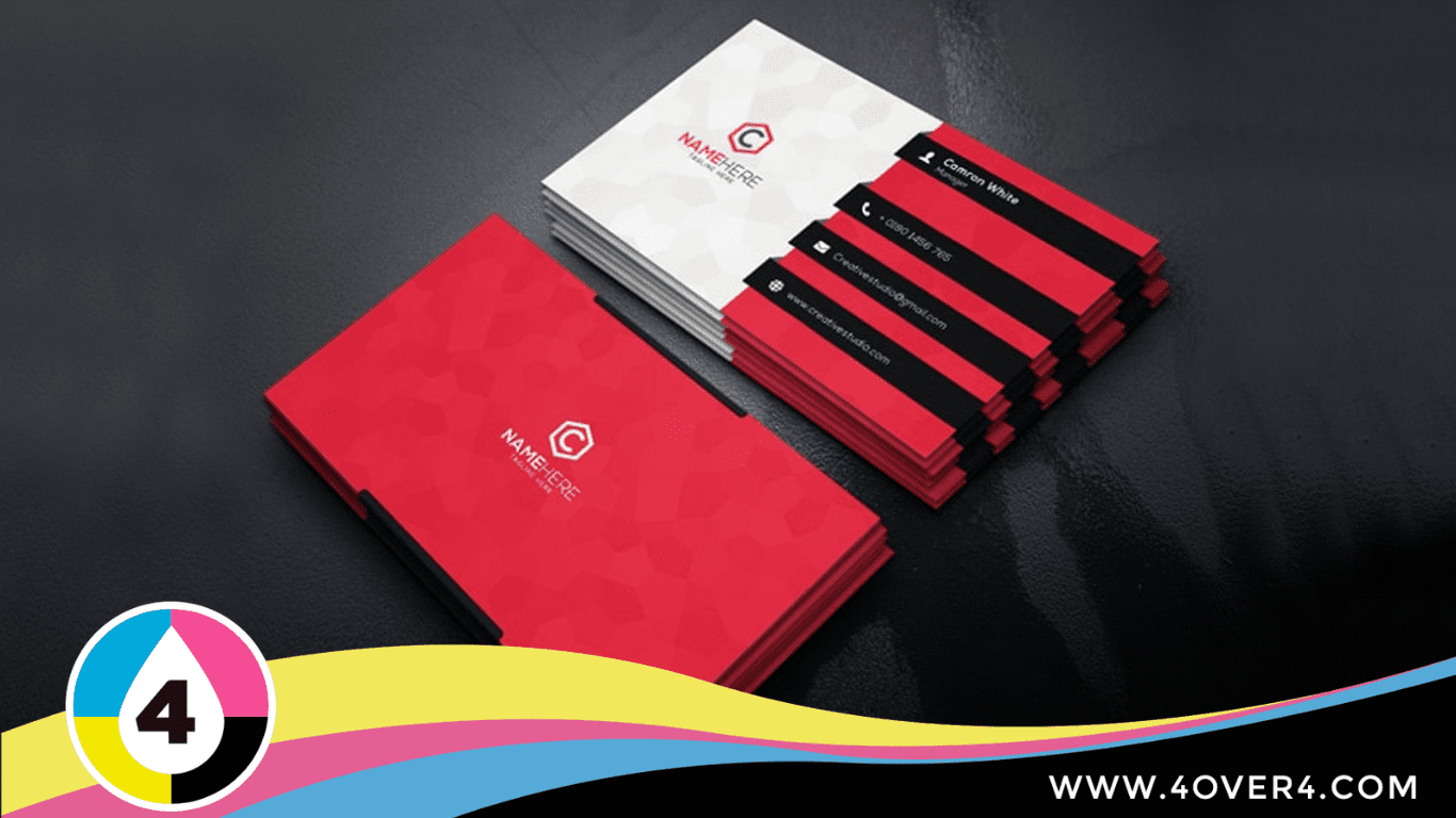 Combination of red, black, and white card printed on front and rear sides