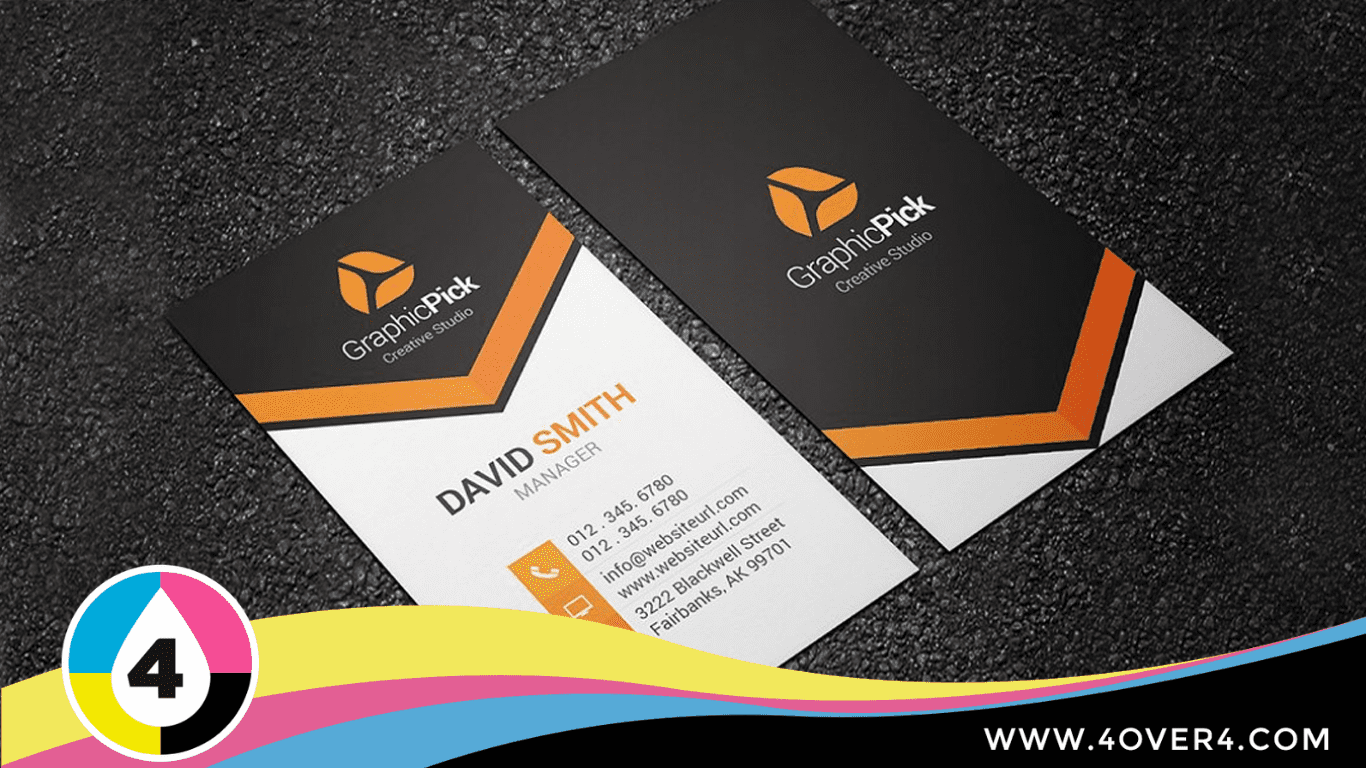 Black and white combined with orange color back and front printed card