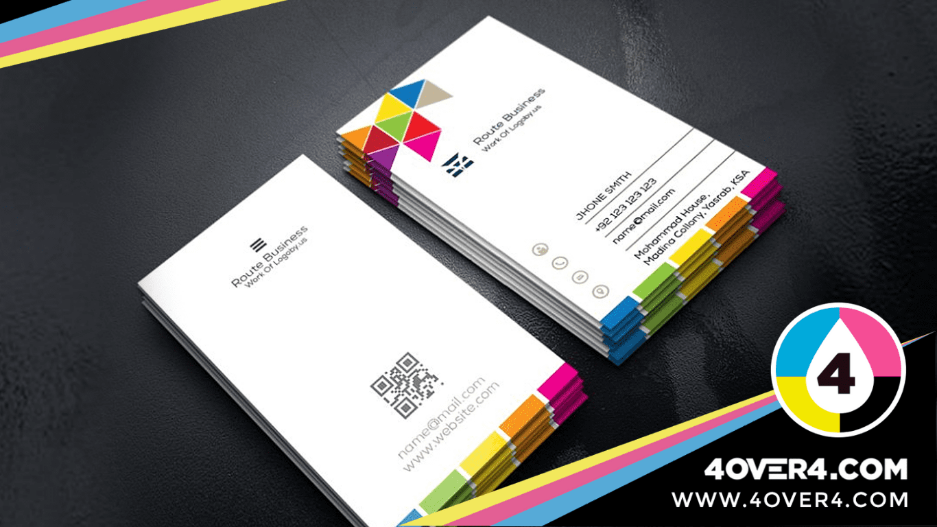 Colorful-touch-to-white-business-cards-simple yet elegant