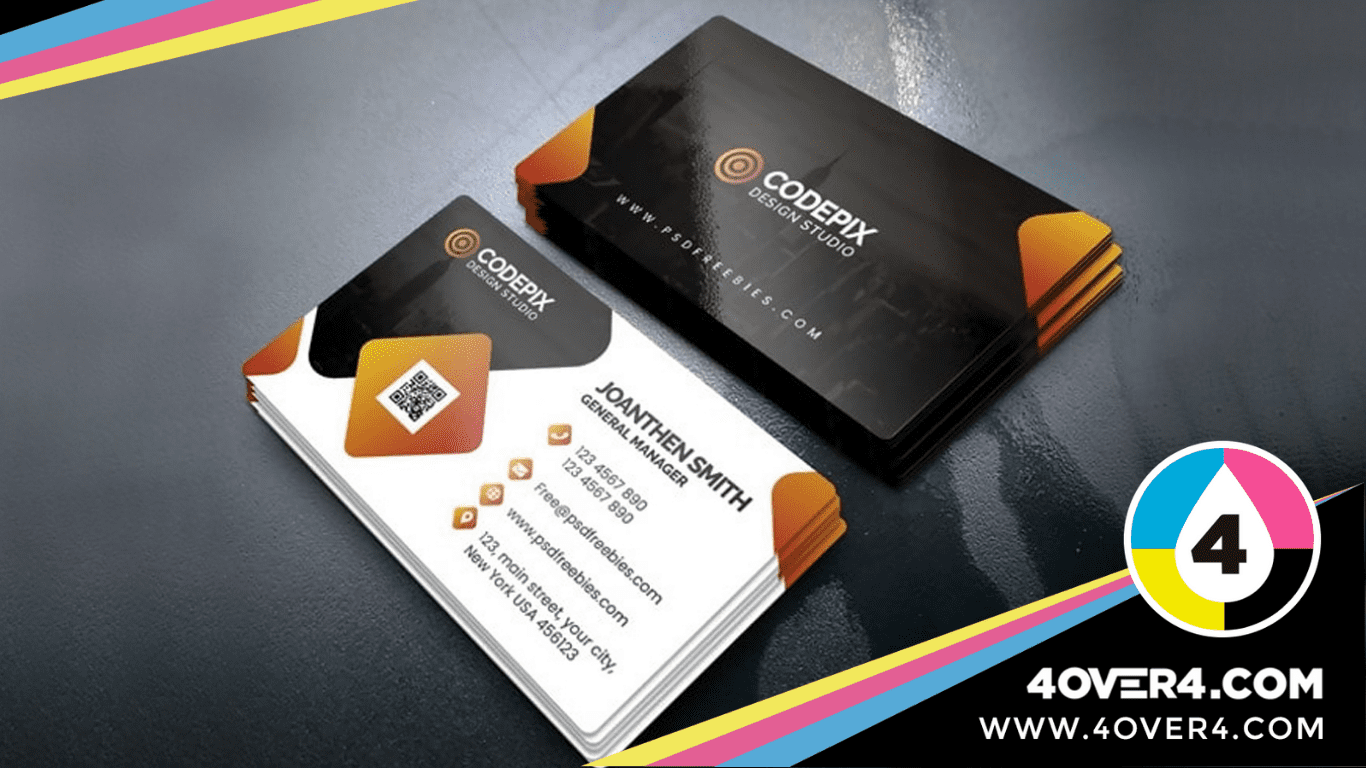 Business-cards-with-QR-code-printed-on-it