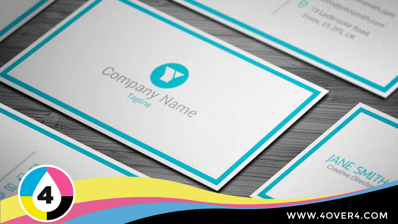 White-business-cards-template-with-blue-border-line
