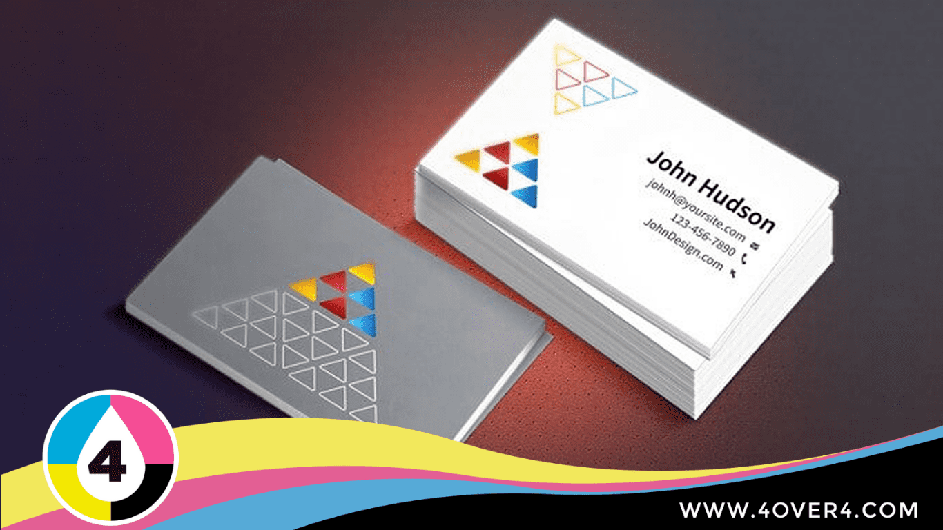 Face to face colored pyramids printed on the card