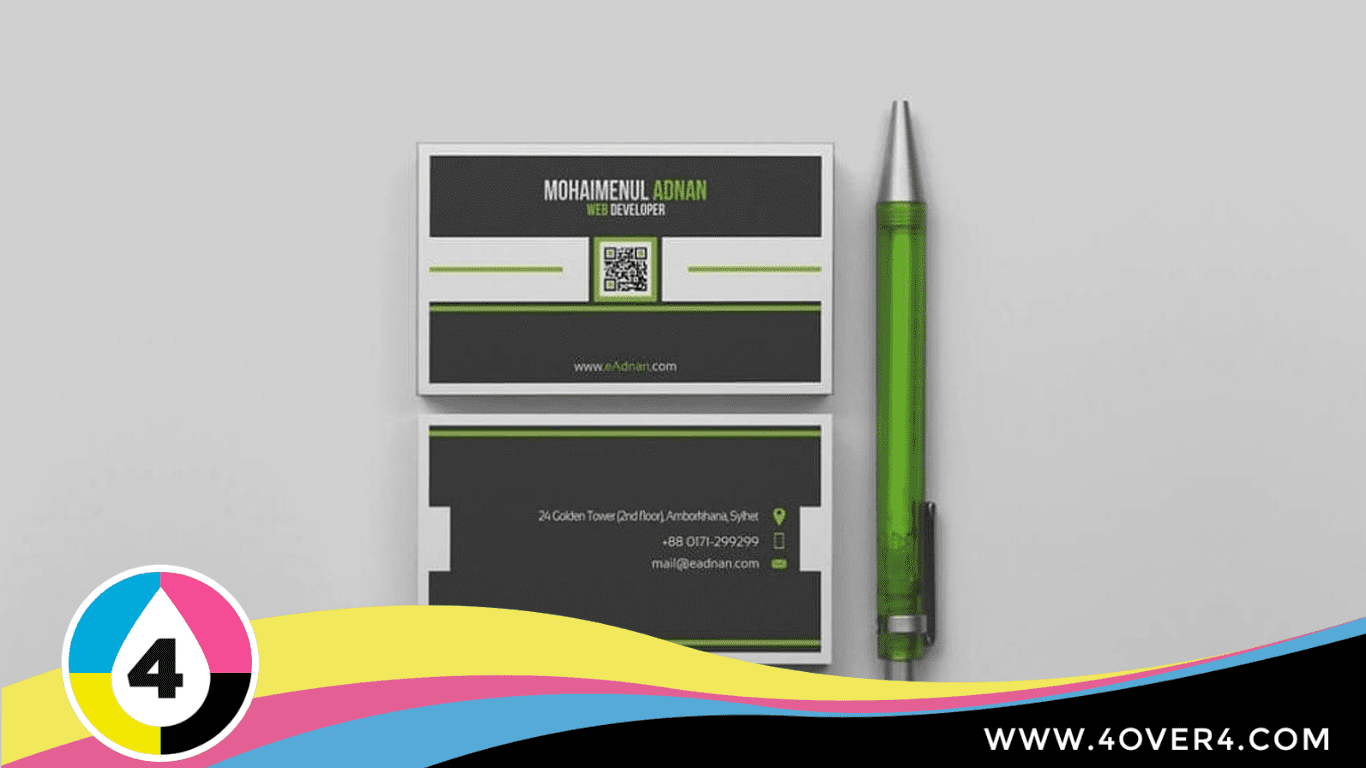 Solid black color card with green border and QR code in the middle