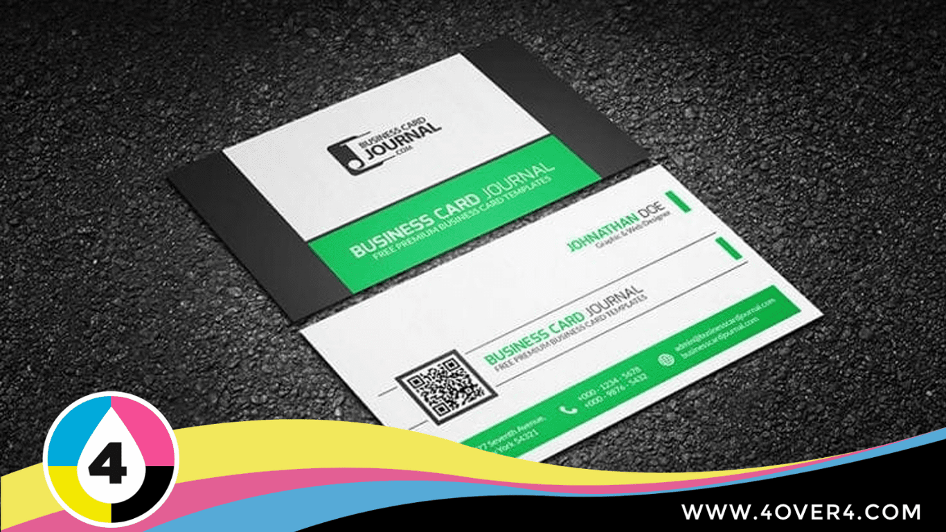 Simple and elegant black, white, and green color card with QR code printed