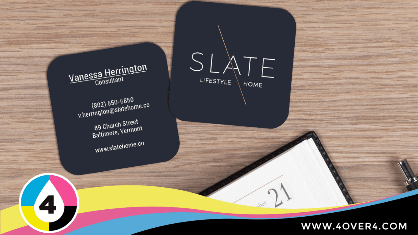 Rounded edges, solid color square business card