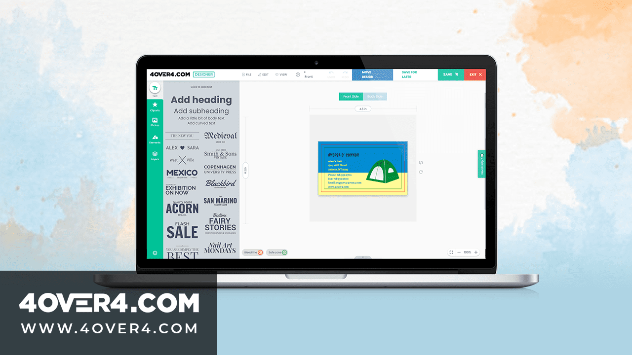 How To Use The 4OVER4 Free Business Card Design Tool