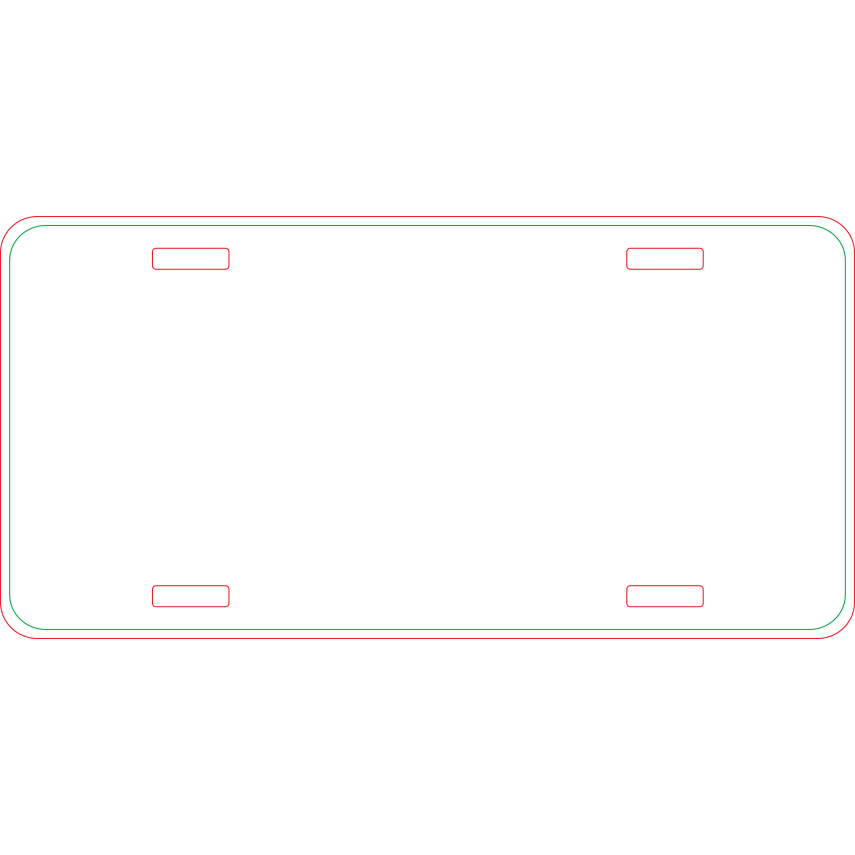 Rounded Corners 11.875″ x 5.875″ License Plates
